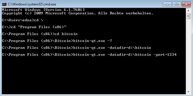 Bitcoin-Qt Kommandozeile